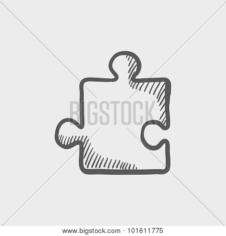 Cookie puzzle sketch icon for web, mobile and infographics. Hand drawn vector dark grey icon isolated on light grey background.