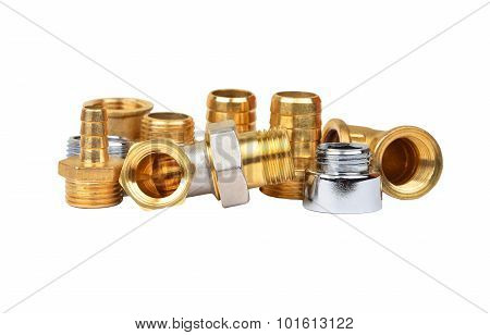 Plumbing fitting and tubulure isolated on white background poster