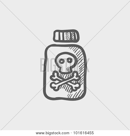 Bottle of poison sketch icon for web, mobile and infographics. Hand drawn vector dark grey icon isolated on light grey background.