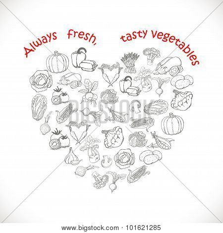 Isolated heart of vegetables. Vector illustrations