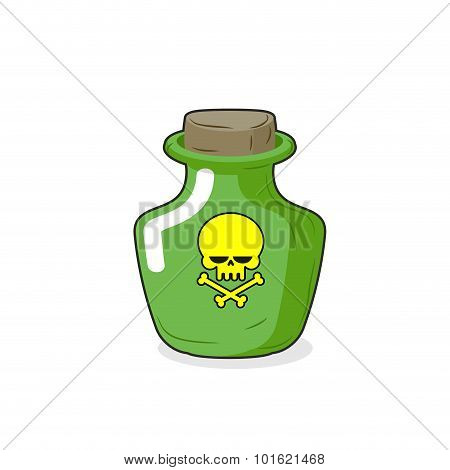 Magic Bottle with a skull. Medical bottle with a poisonous liquid. Glass Bottle with stopper. poster