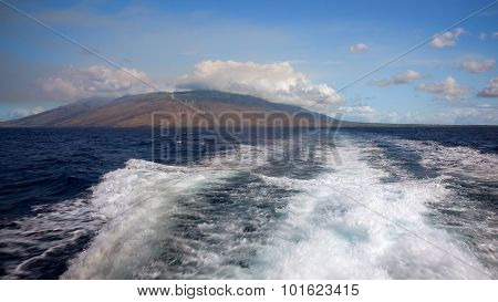 Wake of a dive boat as it makes its way off the coast of Maui heading toward the Molokini Crater a popular dive and snorkel destination poster