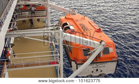 Lifeboat Being Brought Back Onboard A Cruise Ship