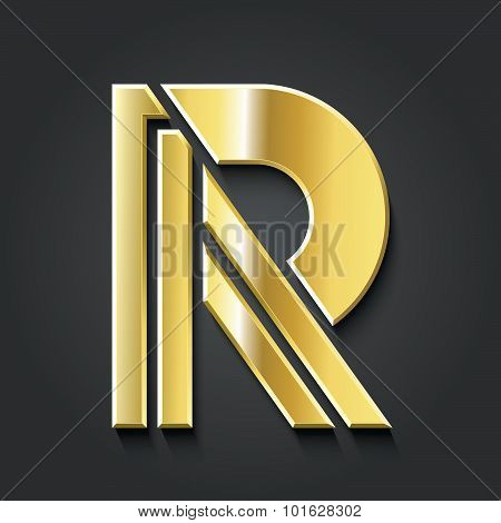 Letter R Golden Symbol Vector Graphic