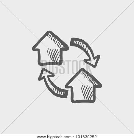 House exchange sketch icon for web, mobile and infographics. Hand drawn vector dark grey icon isolated on light grey background. poster