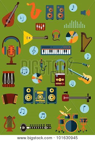 Musical flat instrument and device icons