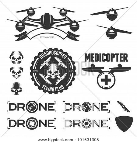 Vector set of drone flying club labels, badges and design elements. poster