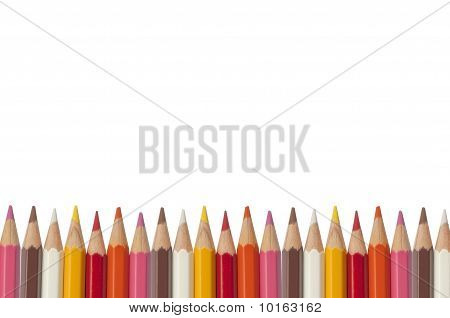 Colorful Crayon As White Isolate Background