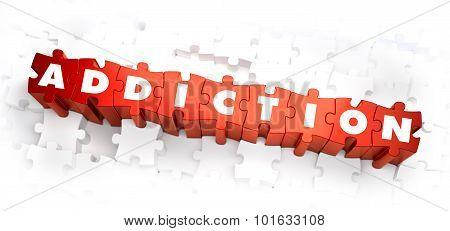 Addiction - White Word on Red Puzzles on White Background. 3D Illustration. poster