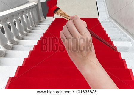 Coloring Red Carpet On White Marble Staircase