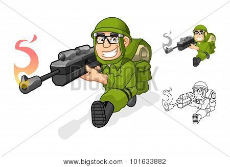 Army Cartoon Character Aiming a Rifle Gun with Shoot Pose