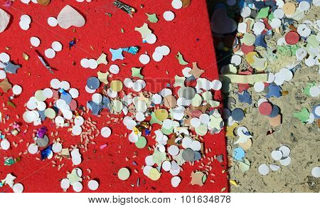 background of confetti and rice after the great Carnival party poster