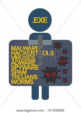 Computer Security Characters Label Virus File .exe