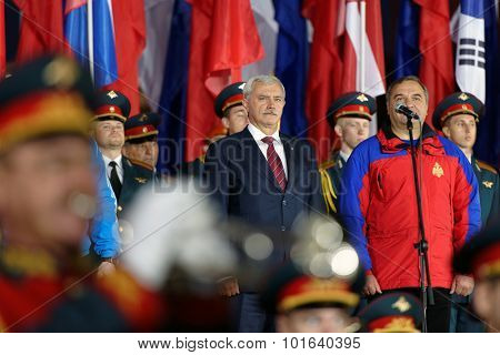 ST. PETERSBURG, RUSSIA - SEPTEMBER 7, 2015: Governor of SPB G. Poltavchenko (center) and minister of EMERCOM of Russia V. Puchkov at opening ceremony of XI World Championship in Fire and Rescue Sport