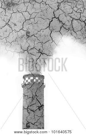 Pollution concept. Double exposure: smoke stack and cracked soil poster