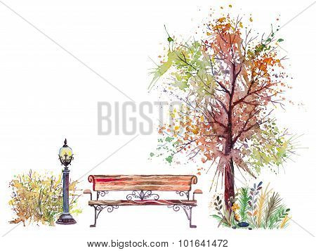 Autumn background with splash tree