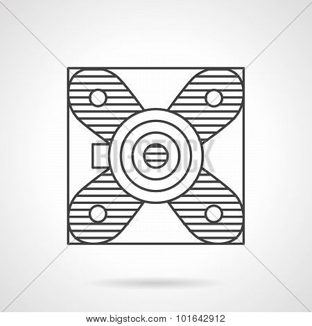 Block bearing flat line vector icon