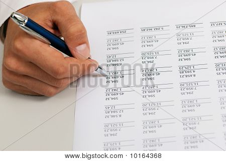 Accountant working on numbers