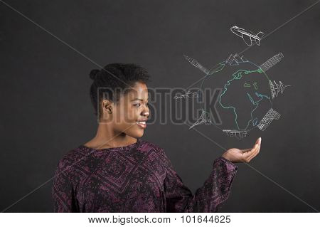 African Woman Holding Hand Out With A Global Travel Diagram On Blackboard Background