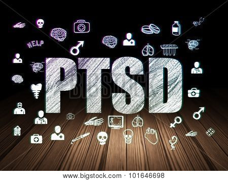 Health concept: PTSD in grunge dark room