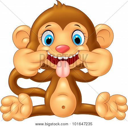 Cartoon monkey making a teasing face. vector illustration