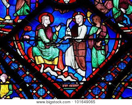 Stained Glass At Chartres Cathedral