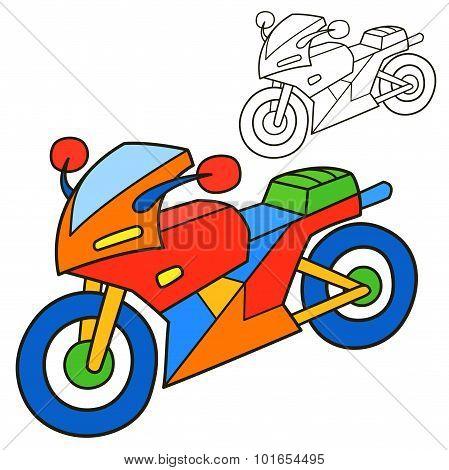 Motorcycle. Coloring book page. Cartoon vector illustration.