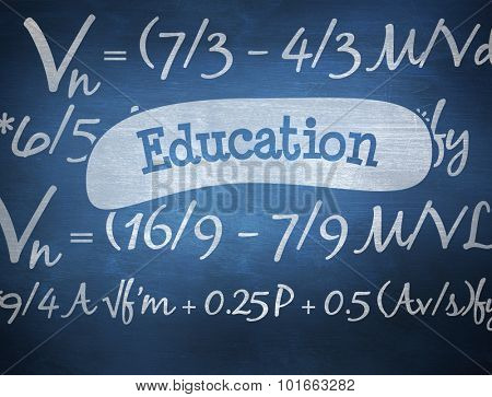 The word education and maths equation against blue chalkboard poster