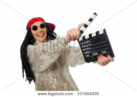 Girl with dreadlocks holding clapperboard isolated on white poster