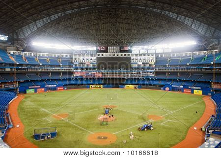 Toronto - August 10: Grounds Crew Gets The Field Ready At The Roger's Centre Before A Game On August