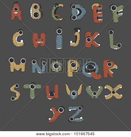 Monster english Alphabet shaped as monsters