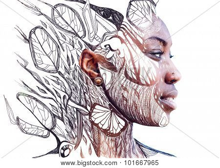 A portrait of attractive african american combined with drawing