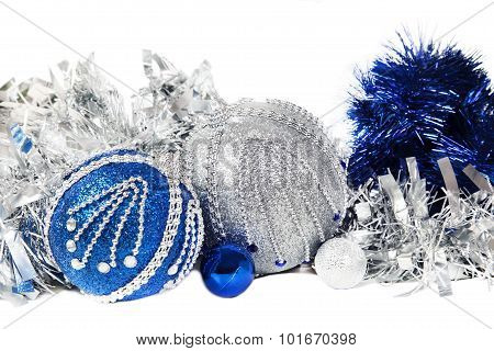 Christmas Blue Tinsel And Blue With  Silver Glitter Balls