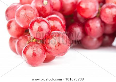 Bunch Of Red Soak Grape On White Background