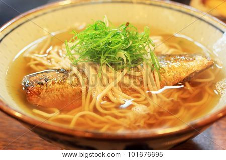 A Bolw of Japanese noodles with saba fish poster