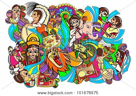 Happy Durga Puja doodle drawing