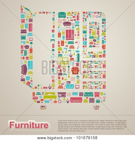Flat Infographic Home Appliance Furniture Icon Template Banner Layout Design Background In A Cupboar