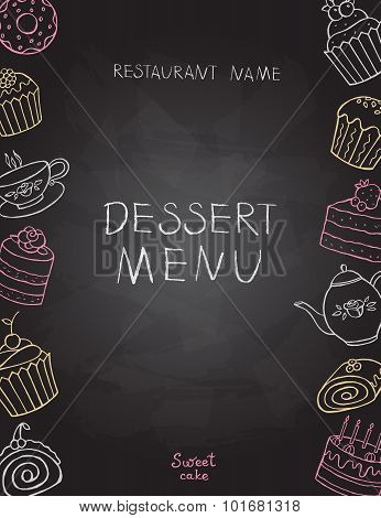 Dessert Menu On Chalk Board