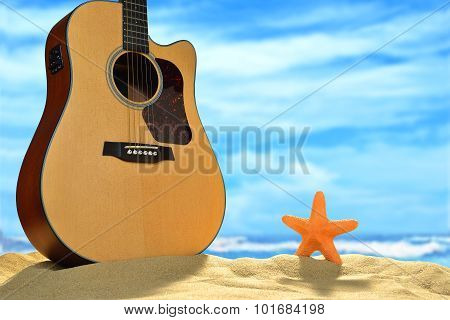 Acoustic guitar on the beach