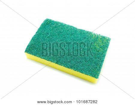 Sponges for dishwashing on white background Scotch Brite dishwashers poster