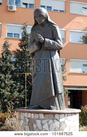 Struga, Macedonia -march 04 : Mother Teresa Monument In Struga On March 04 , 2008. Monument Humanita