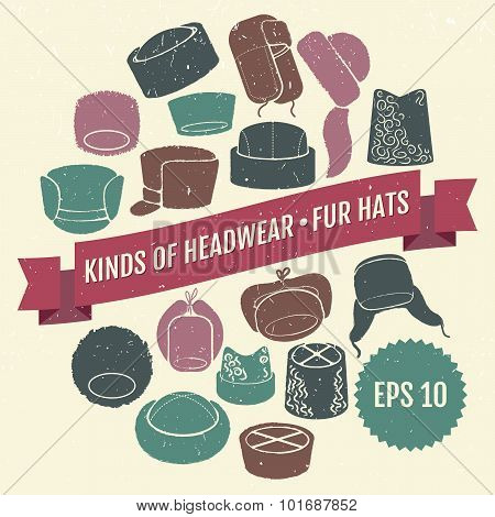 Kinds of headwear. Fur hats. Eps 10