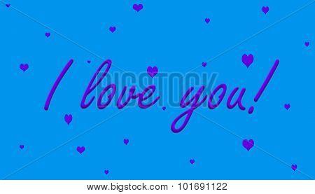 I Love You! Purple on Blue