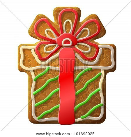 Gingerbread Christmas Gift Decorated Colored Icing