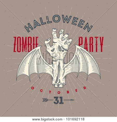 Zombie rotten hand with bat wings - Halloween line art vector illustration