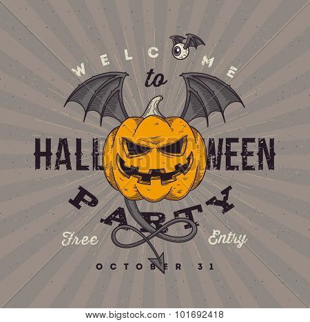 Halloween party invitation with flying pumpkin - line art vector illustration
