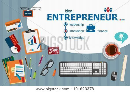 Entrepreneur Design And Flat Design Illustration Concepts For Business Analysis