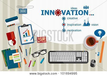 Innovation Design And Flat Design Illustration Concepts For Business Analysis, Planning