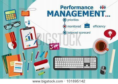 Performance Management Design And Flat Design Illustration Concepts