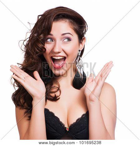 Studio Shot Of Funny Surprised Woman